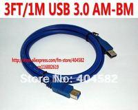 50pcs/lot  3FT/1M USB 3.0 AM-BM ,USB 3.0  FOR Printer Cable +High quality