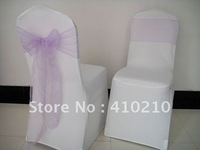 lilac sashes and white lycra/spandex chair covers