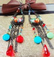 MIX(Min.$18) wholesale +retro fashion free colorful bead lady's alloy earring FE-006