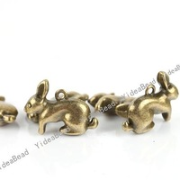 Wholesale - 75pcs New Rabbit Antique Bronze Tone Charms Loop pendants Beads Animal Jewerly Findings 23mm 140819