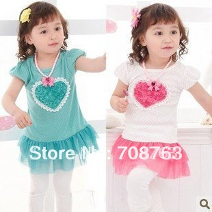 Love Heart Rose Princess Dress TUTU For Baby Kids Girls Wholesale 1 Lot / 5 Pieces