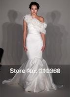 Ivory Silk Satin Organza StraplessNeckline Sleeveless Bridal Wedding Gowns,Wedding Bridal Gowns,Mermaid  Bridal Gown AV9200
