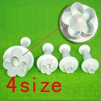 4x Cake Mould Biscuit Cookies Mould,Decorating Plum Flower Fondant Plunger Cutter Tool Mould