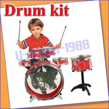 New Kids Chiled Rocking Drum Set kit Musical Instrument red +free shipping