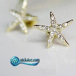 Min Order 12$ Fashion Jewelry Vintage Lovely Starfish Design Earrings Crystal Stud Earring ES0051(China (Mainland))
