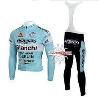 Free shipping+Polyester+padCoolmax+2010 Bianchi Long Sleeve Cycling Jerseys and BIB Pants Set/Cycling Wear/Cycling Clothing