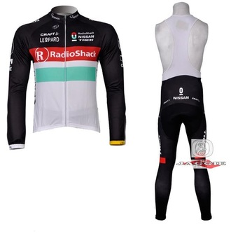 Free shipping+Polyester+Coolmax+2012 red radio shack Long Sleeve Cycling Jerseys+BIB Pants Set/Cycling Wear/Cycling Clothing