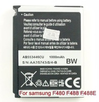 Retail Battery For SAMSUNG F480 F488 G808 G800 i560 i620 i7500 L878 L870 M110 M509 P520 P528 S5233 S5230 W509 W569 Z540 Z170