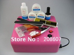 36w UV Lamp Machine+ 4tubes Freeshipping Professional UV Gel Full Set&amp;Kit Nail Art Brush /Glue /File/ Cleanser/Buffer/Topcoat(China (Mainland))