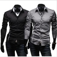 free shipping 2012 spring fashions mens shirts casuel slim solid color shirts wholesale and retail