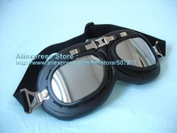 WW II Style Matt Black Frame Bicycle Sport Eyewear Lenses Motorcycle UV Goggles Silver Glasses