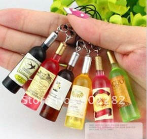 Free Shipping! Wholesale cute wine bottle shape cell phone strap mobile phone strap / charm 50pcs/lot, fashion jewelry ...