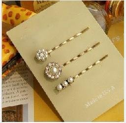 H030 hairgrip fashion  three  New bobby pins, hair clips with imitation pearl and rhinestone crystal  B3.30