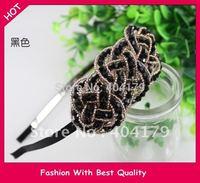 Freeshipping wholesale fashion crystal beads handmade headband hairband with gems 12pc/lot