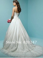 2012 boutique luxury classic palace satin beaded lace tail wedding dress