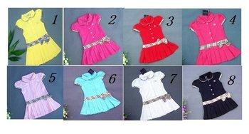 Wholesale + 8 color Girls dresses Pleated tennis dress belt girls clothes many color chilidren cloth children clothing  dre2s