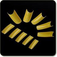 500pcs Size 0-9 Yellow French Acrylic UV Gel Fake False Nail Art Tips Free Shipping Wholesale