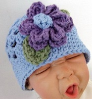 10pcs/lot Handmade knitting Baby warm cap baby crochet hat with big flower for Autumn winter light blue Free Shipping