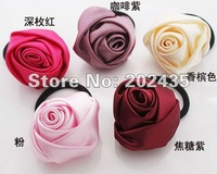 Wholesale candy color rose flower Elastic Girl Hair Tie Bands silk cloth Headband hair Strap headdress flower hair band C39