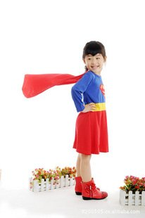 2014 New Free shipping Wholesale Cosplay  halloween Super Girl  Costume Dress Full set Red and Blue