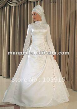 (MF-116)Elegant Long Sleeve Embroidered A-line Satin Top Arabic Desighers Weddding Dresses