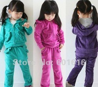 Free Shipping! Velvet girls clothing set