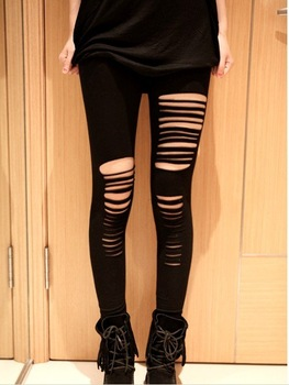 2012 VC same design slash leggings Sexy ripped slash stretch cut out torn punk intersect straps tight leggings pants