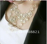 unique  (Min.order 10$ mix) N0234 New ! Multilayer flowers statement necklace for woman Free shipping N0234- D wholesale charms