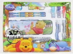Winne Stationery Set, School set, pencil box,2 pencils,1 eraser,1 shapener,2 nite writer pen 2 ballpen ruler 20set/lot(China (Mainland))
