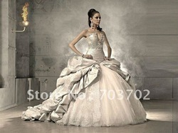 Holiday Sale Stunning strapless beaded ball gown wedding gowns(China (Mainland))