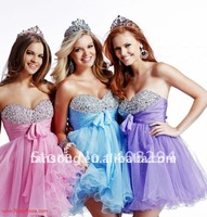 2014 Stylish beaded sweetheart neckline colorful organza girls party dresses