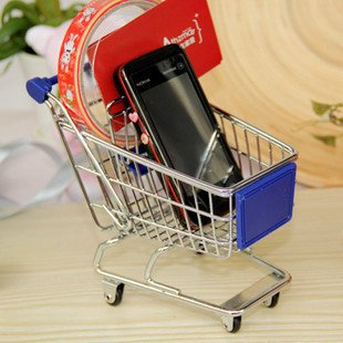 DHL  70pcs/lot  DHL Free shipping Mini Metal Shopping Cart  Storage Cart Innovative Mobile Phone Holder  Size L