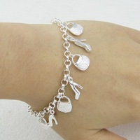 EVYSSL (32) free shipping Wholesale fashion silver 10 Charm Bracelets for girl fashion silver jewelry nice present
