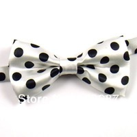 Children Boys White Black Polka Dot  Imitation Silk Formal Tuxedo Bowtie Bow Tie With Wedding Necktie Free Shipping  50 pcs
