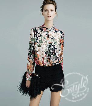 NEW, European vintage flower elegant fashion long sleeve ladies blouse
