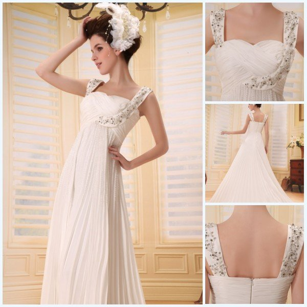 Hot Come Fashionable Straps Sheath A-Line Ruffle Paillette Beaded Chiffon Satin Debs Prom Dress(China (Mainland))