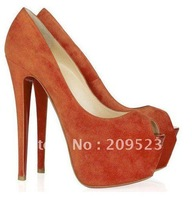 New Genuine Suede Upper Peep toe Hidden Platform 160mm High Heels Pumps Shoes