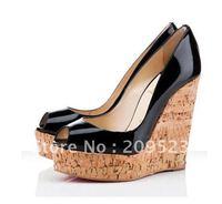 Summer Classique Black Une Plume Patent Leather peep toe 140mm Wedge Heels Shoes