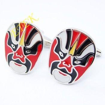 New Style 2012! Fashion Cufflinks,wholesale cufflinks,white gold plated cufflinks, Beijing Opera mask,Free shipping,EKC5000344