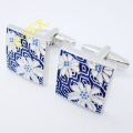 New Style 2012! Fashion Cufflinks,wholesale cufflinks,white gold plated cufflinks,blue flower cufflinks,Free shipping,EKC5000359