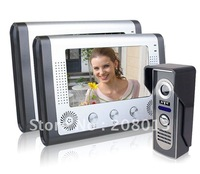 Cheapest hotsale 7inch Clear image wired video door phone promotion 1 camera+2 monitors