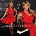 Free shipping hot sale red one shoulder with bow asymmetrical mini sheth satin Grammy star/Celebrity Dress