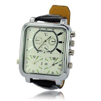 V6 6 hands Three Time Show  Movements Square Dial Metal Case Quartz Wrist Watch for Women Men Wristwatch Male clock sports