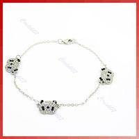 D19+10 pcs/lot New Fashion Jewelry Cute Sliver Panda Bangle Bracelet Rhinestone (three bear)