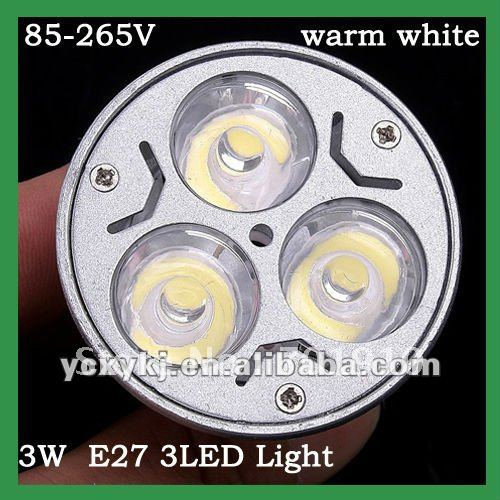 free shipping Energy saving 3W E27 85-265V 300LM led light bulb 3 leds LED bulb lamp Spot light warm white(China (Mainland))