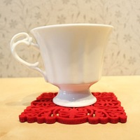 Free shipping promotional 10 pcs/lot 9.5*9.5cm square red non-woven fabric cutout pattern cup pad/ table coaster