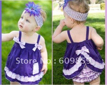 LOVEBABY lace bow sling skirt suit John pants baby Dress + lace pants baby dress baby lace pants 4pcs/lots