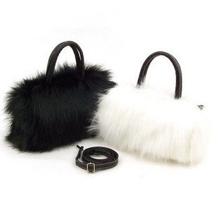 HOT SALE! Fashion plush fur bag cute bags women handbags / black, white / hobos/leather handbag/Free shipping Q086