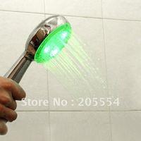 10pcs/lot Temperature Control 3 color LED Light Shower Head  #534