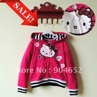 Платье для девочек In Stock 2012 dress newest baby girls HELLO KITTY polka dot strap knee-length summer dresses